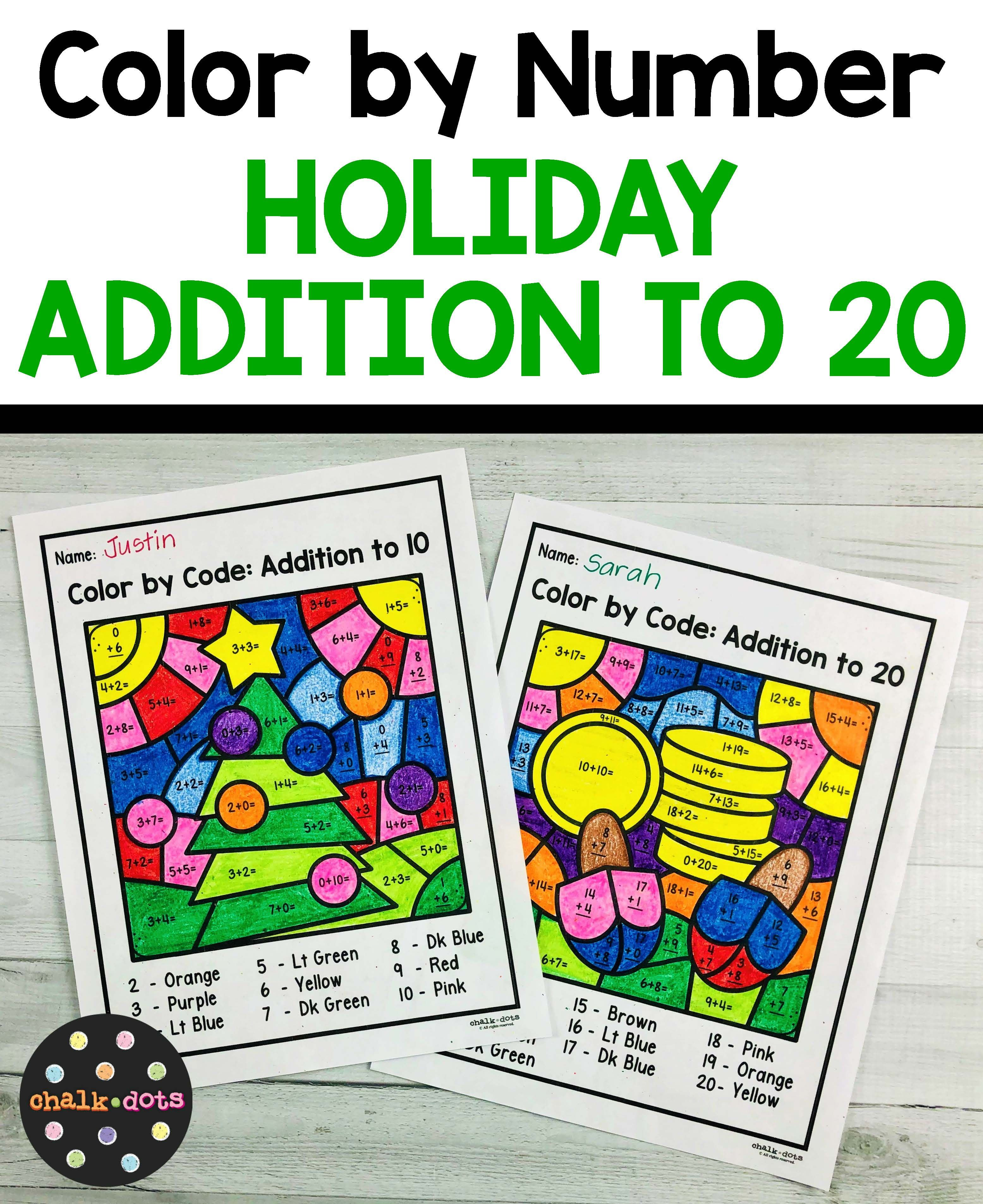 Christmas Math Color By Number