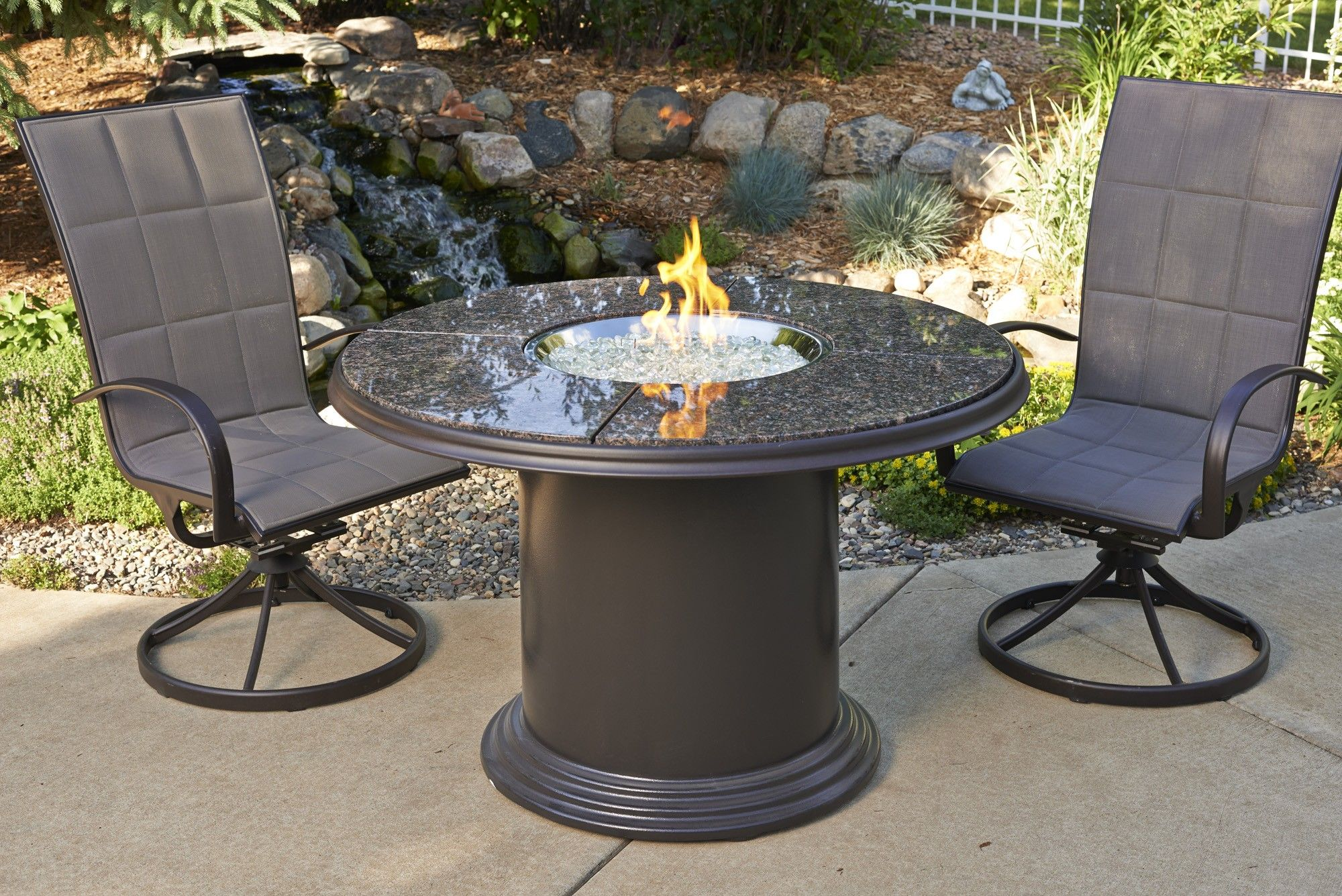 Grand Colonial Dining Fire Pit Table with empire dining chairs ...
