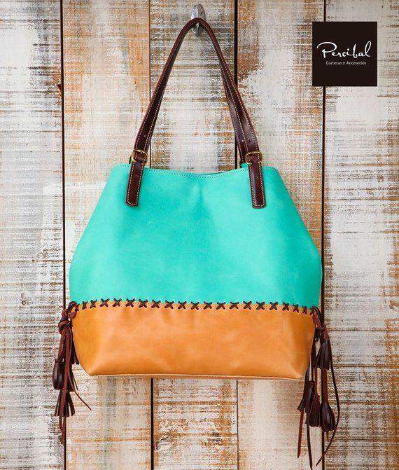 Aqua leather bag, colorful hobo bag, two tone leather bag, oversize tote,  large hobo purse, premium b22cb63cd4