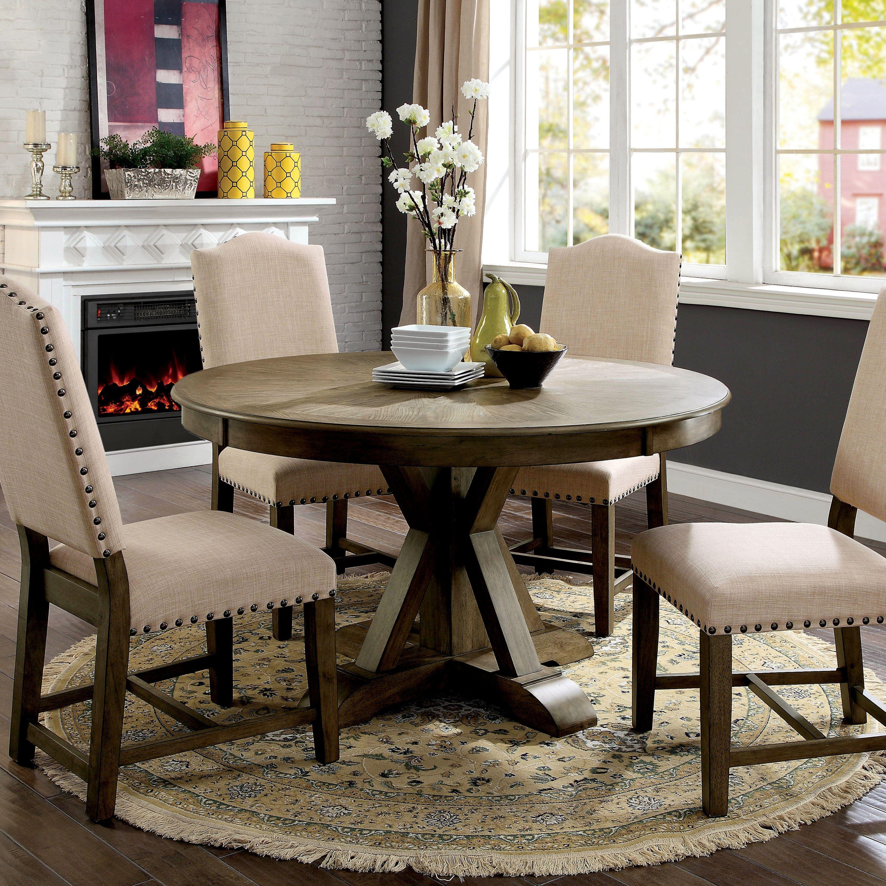 Furniture Of America Cooper Rustic Light Oak Round 54 Inch