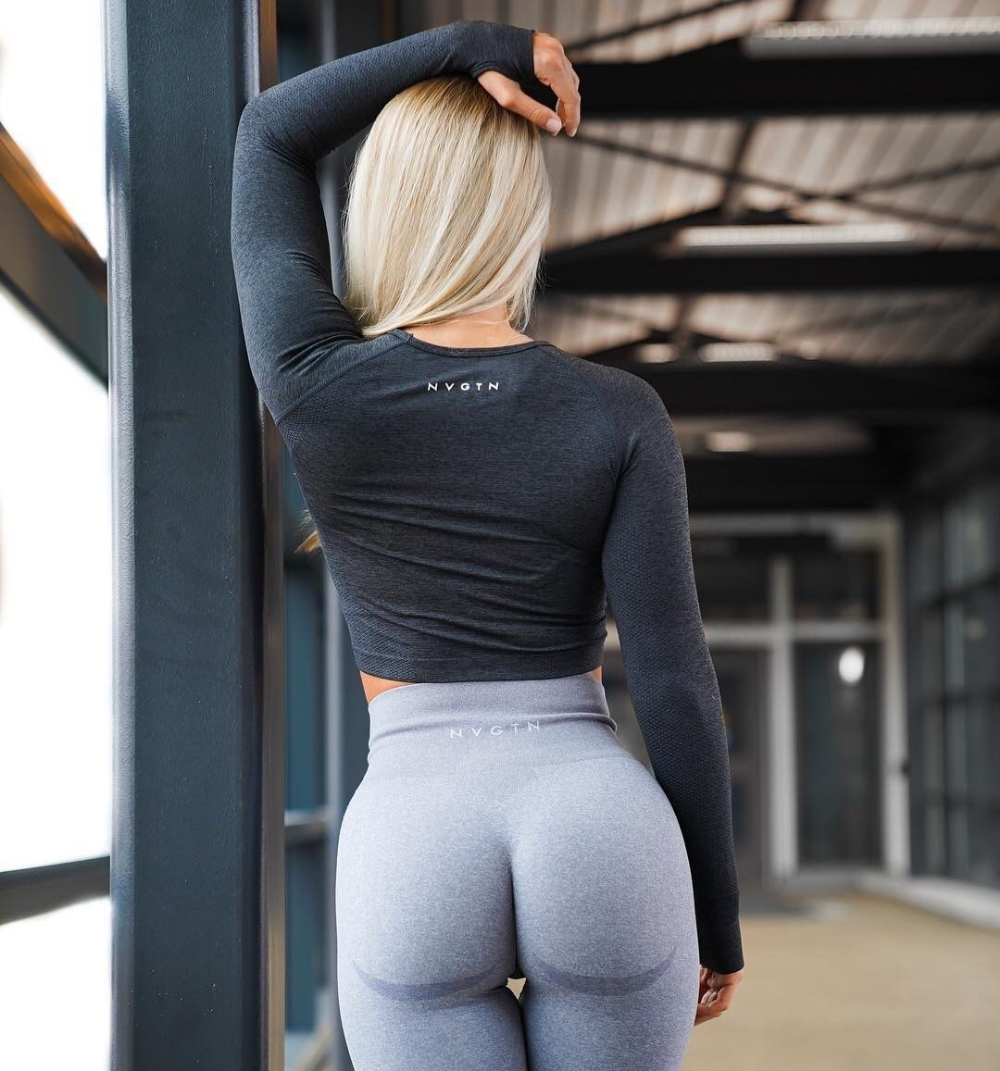 Yoga suit female sexy tight crop short sleeve quick