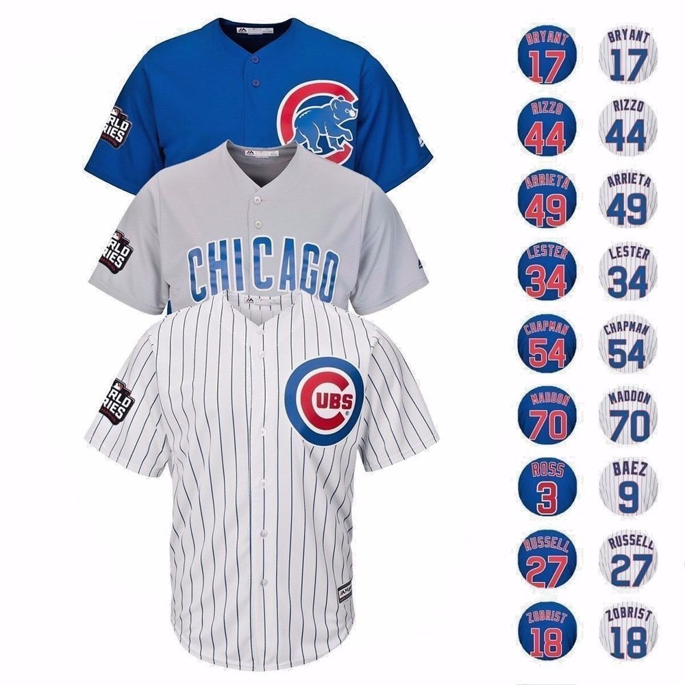 newest 4636c 2c733 2016 Chicago Cubs Baseball Jersey with World Series & Cubs ...