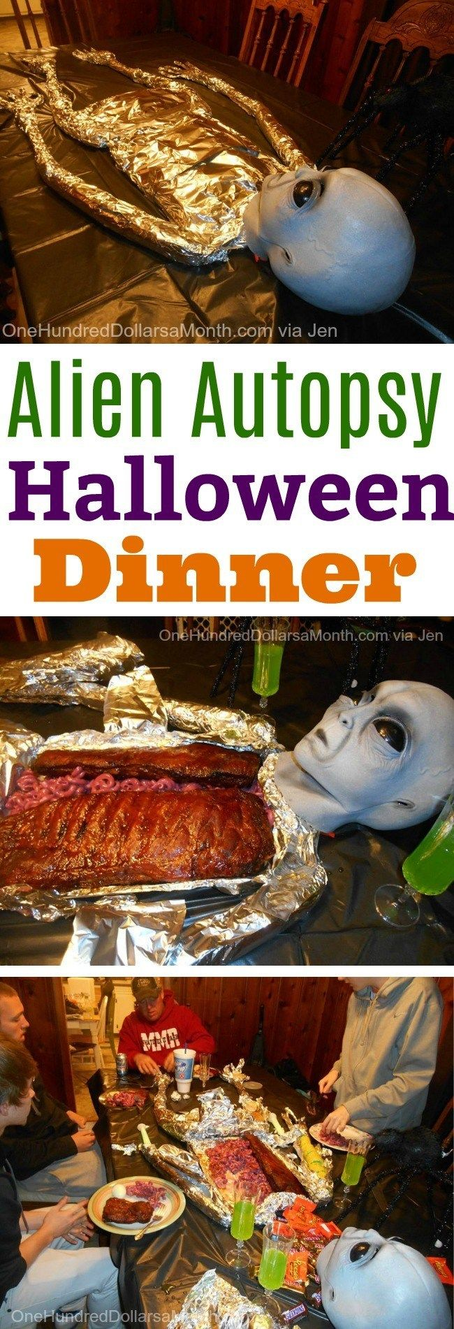 Jen's Alien Autopsy Halloween Dinner - One Hundred Dollars a Month
