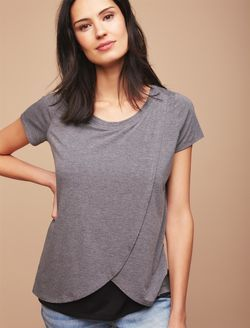 b5e3a7984 Short Sleeve Tulip Layered Nursing T-shirt- Solid, Heather Grey ...
