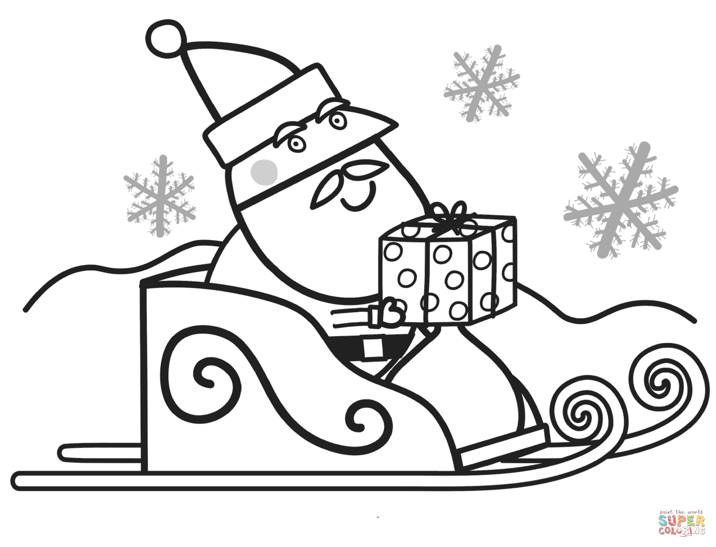 Santa With T Box For Peppa Coloring Page