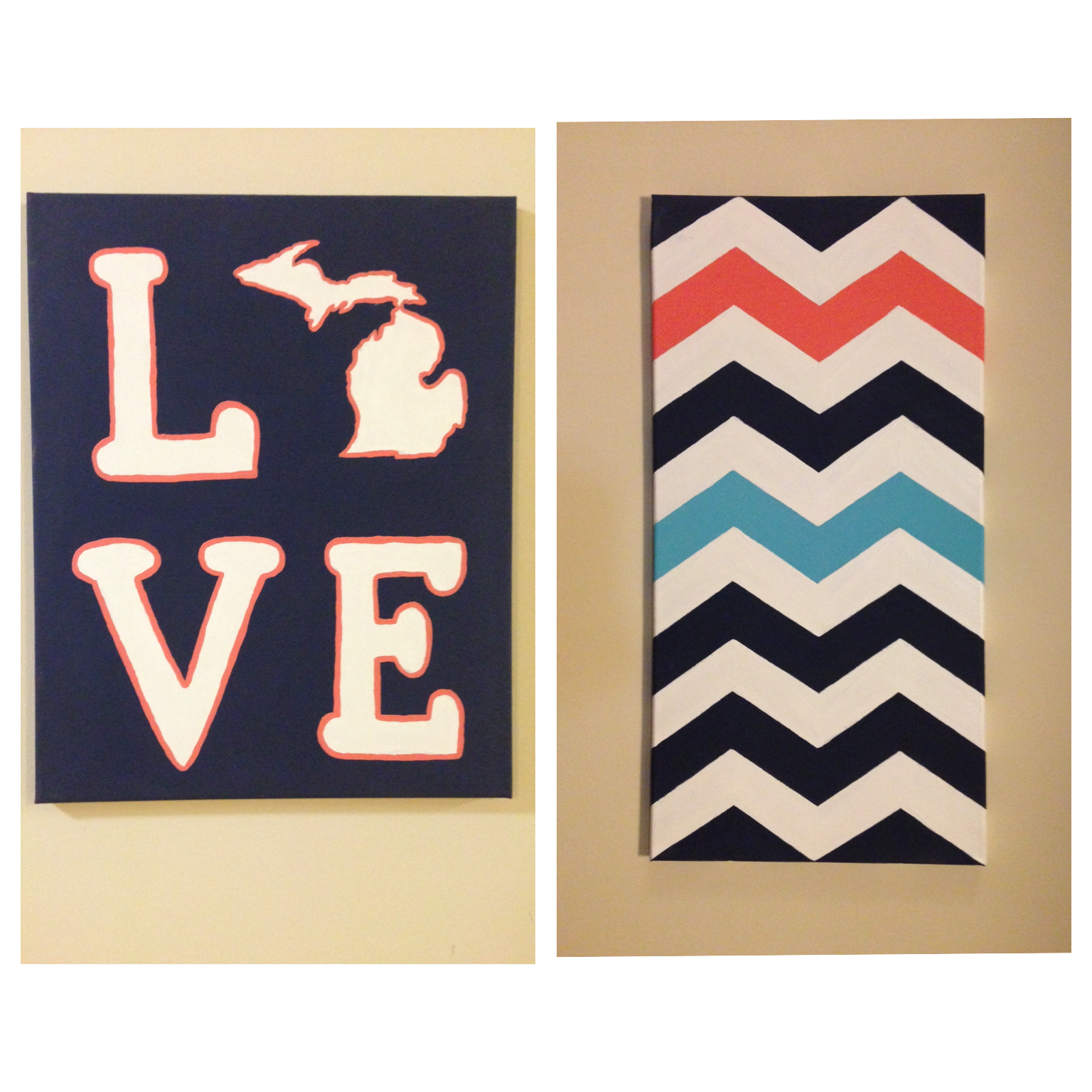 Diy do it yourself navy and coral painted canvas love michigan diy do it yourself navy and coral painted canvas love michigan canvas painting ideas chevron painting matching canvas painting apartment decor solutioingenieria Image collections
