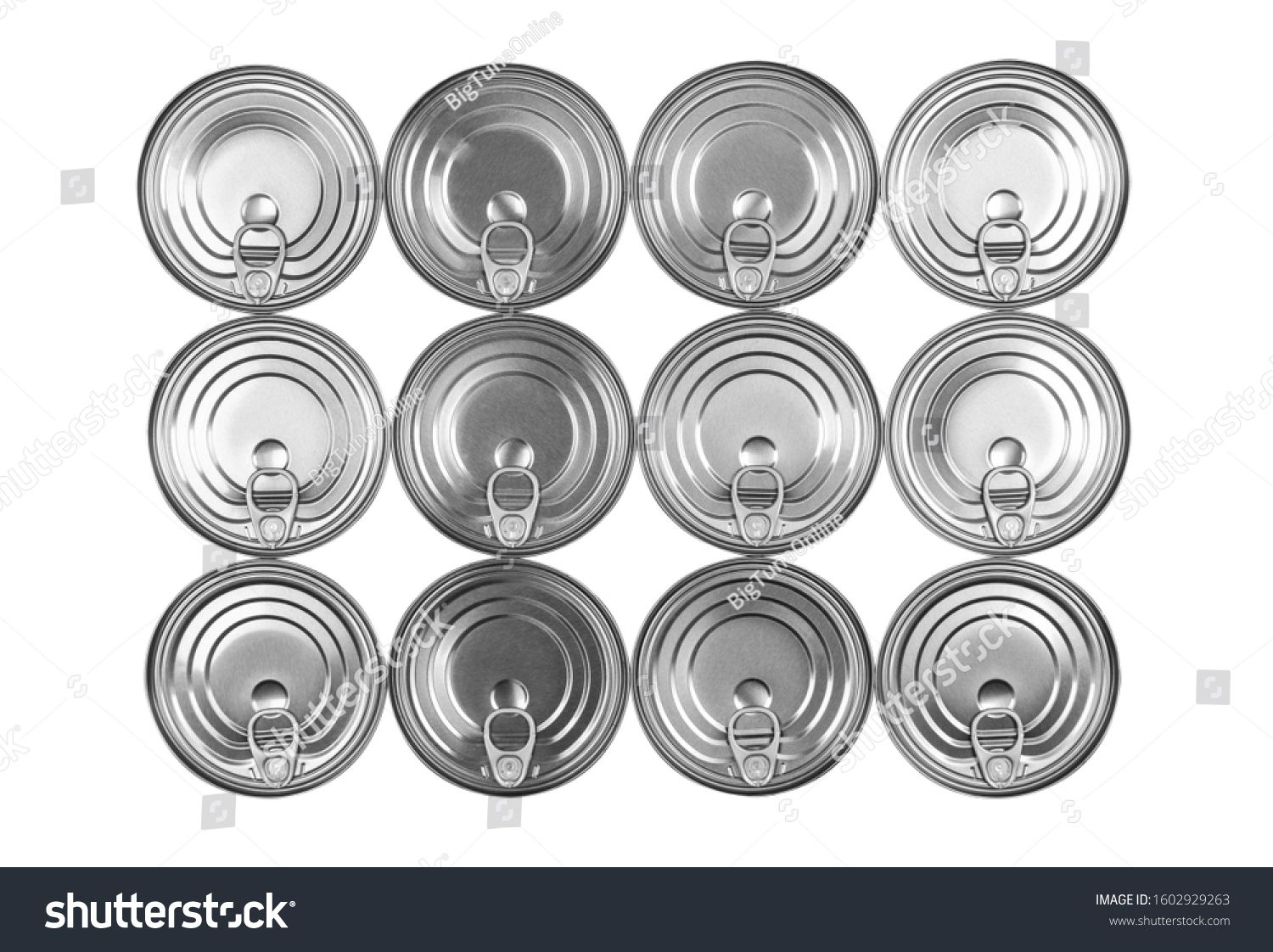Close up photo of aluminium cans in a raw isolated on white background Aluminium can background Can Pattern Aluminium beverage cans Drink can Metal containers for packagi...