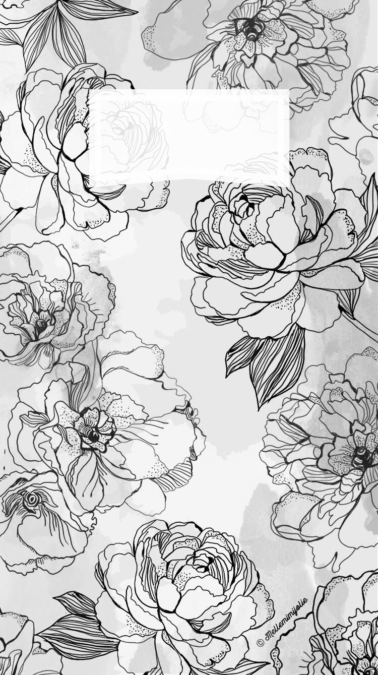 Iphone Wallpaper Background Flowers Black And White With