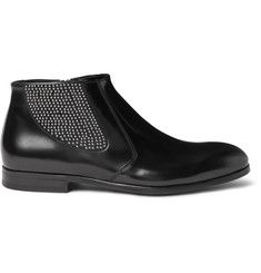 24c1522fe93a Alexander McQueen Studded Polished-Leather Chelsea Boots   African ...