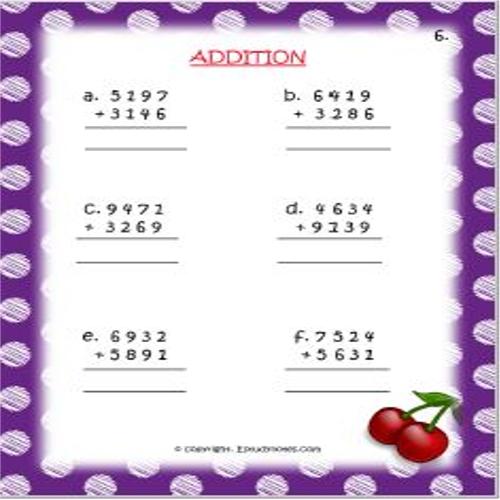 Maths Addition Worksheet 6 Grade 3 Math addition
