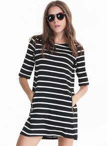 6f100a99419ad Black White Half Sleeve Striped Pockets Dress US 19.67 Sheinside ...