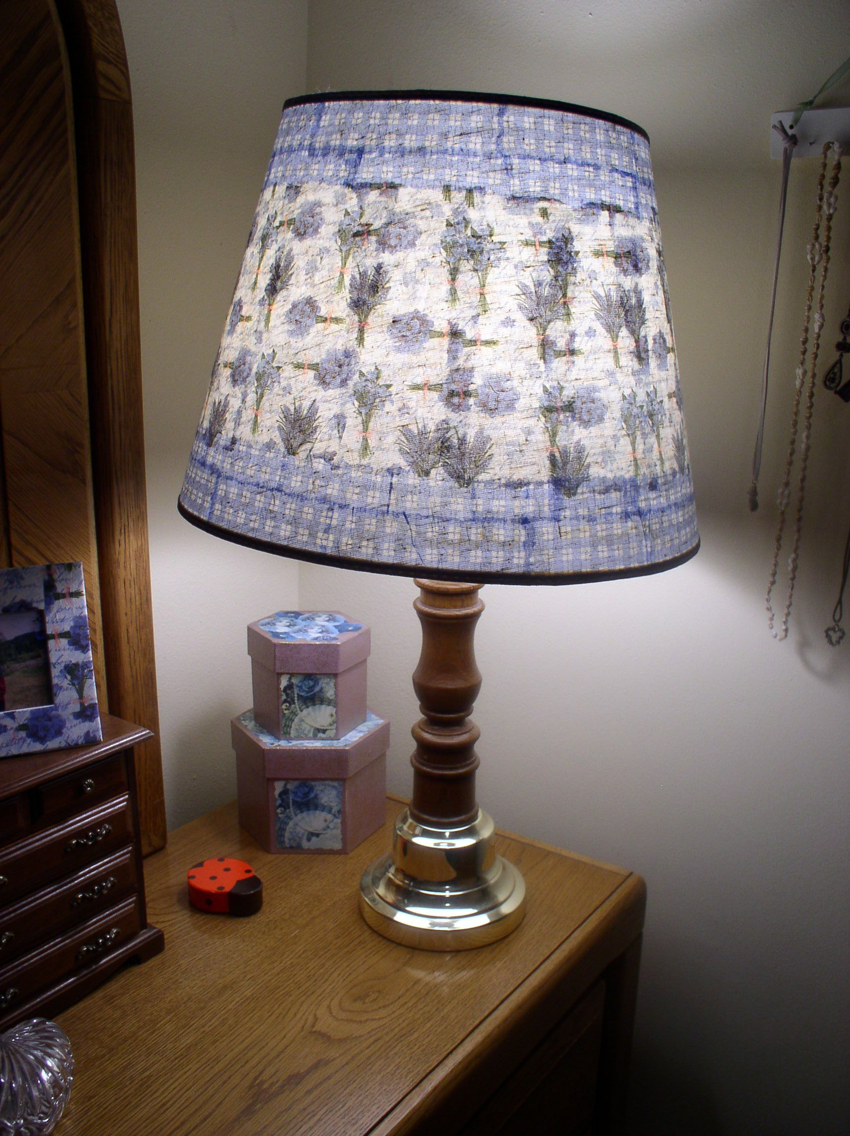 I decoupaged this yard sale lampshade with paper napkins