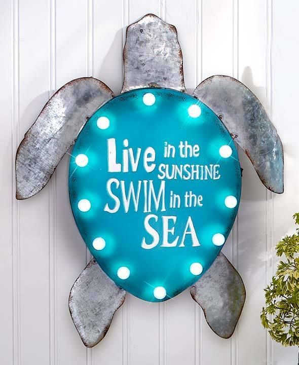 Lighted turtle metal coastal wall sign sculpture sea life for Ocean themed home decor