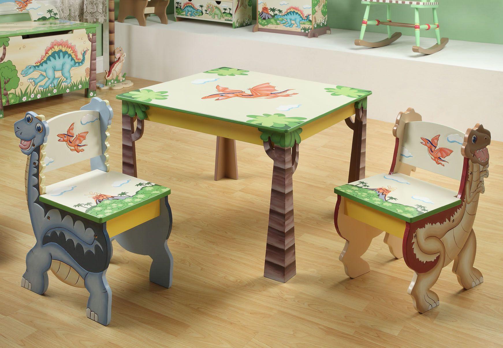 Teamson Kids Dinosaur Kingdom Childrens 3 Piece Table and Chair Set