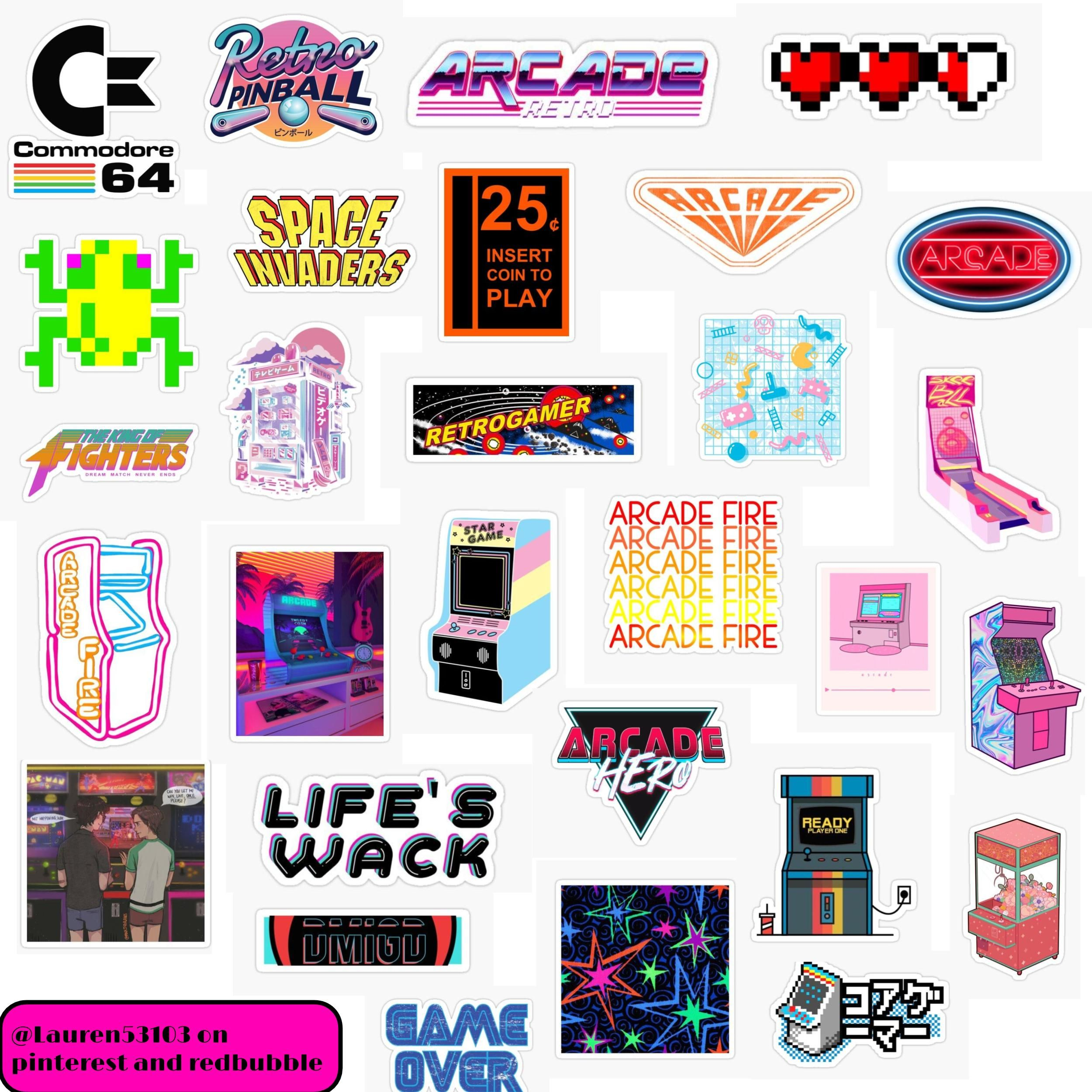 Arcade Core Sticker Pack Sticker By Lauren53103 In 2020 Print Stickers Iphone Case Stickers Cute Patterns Wallpaper