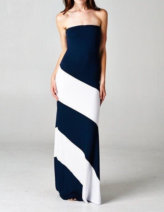 Details about Women\'s Strapless Maxi Dress Plus Size Tube ...