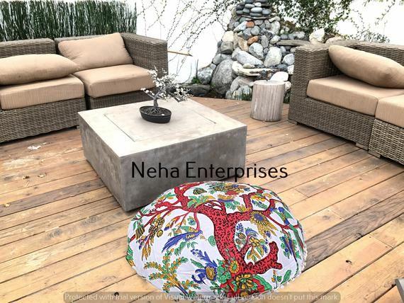 Hippie Round Cotton Floor Pillow Cover Bohemian Handmade Mandala Ottomans Pouffe Footstools Throw Fl