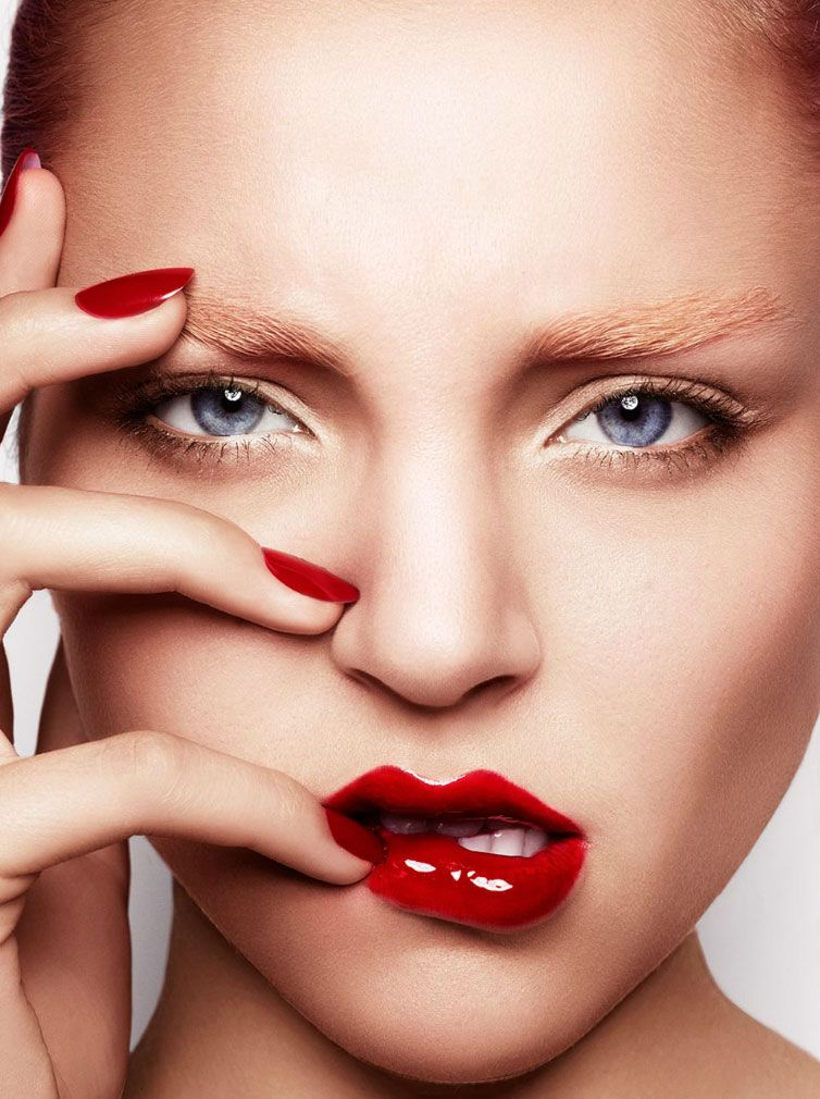 Glossy lips and nails, photography by Warwick Saint.