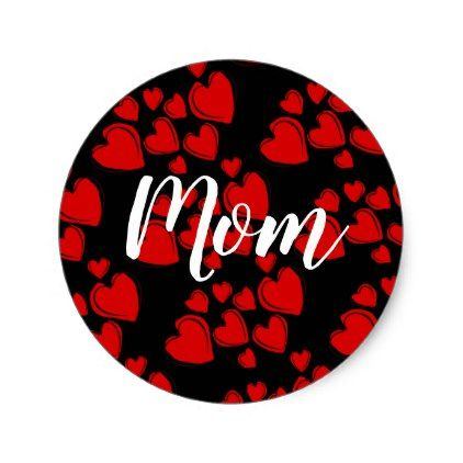 Custom red hearts mom classic round sticker round stickers