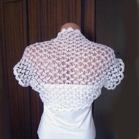 Wedding White Shrug Bolero Crochet Lace Bridal par KnittedSmiles ...