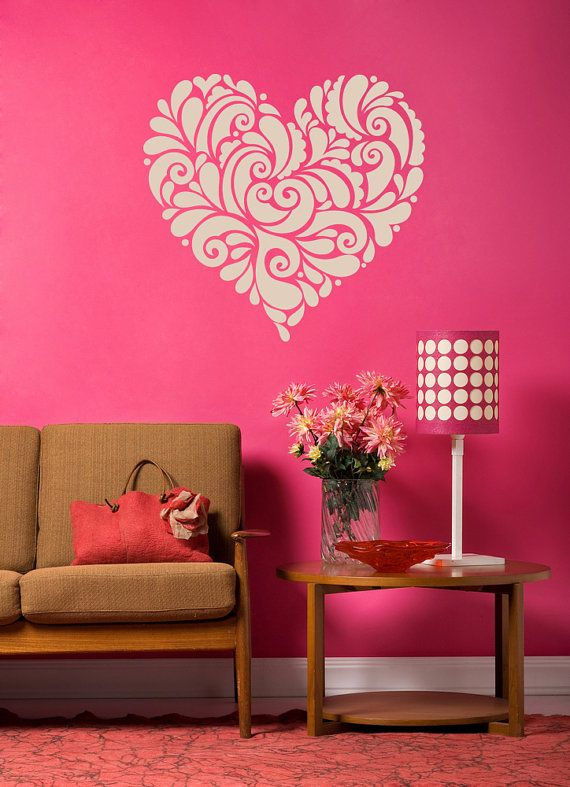 Retro Decor Heart Decal Heart Decor Vintage Decor Romantic - How do you put up vinyl wall decals