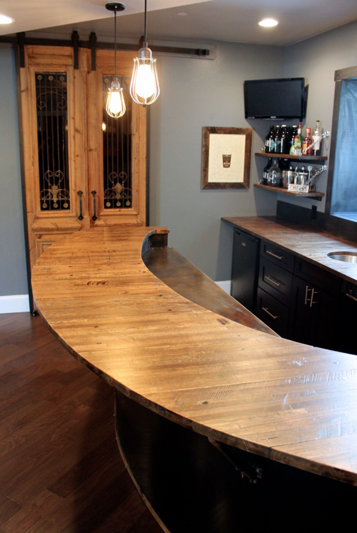 Reclaimed Semi Planks Used As A Bar Top Wood Planks Plank