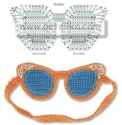 62383eeea óculos de crochê | Coisas estranhas.Têm utilidades ? | Crochê, Olhos ...