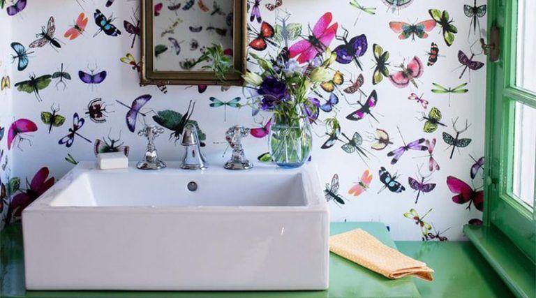 20 cuartos de baño con papel pintado que no decepcionan ...