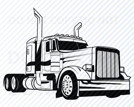 20+ Semi Truck Clipart Black And White