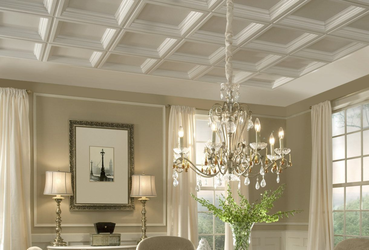 Formal Dining Room With Coffers In 2020 Plastic Ceiling T