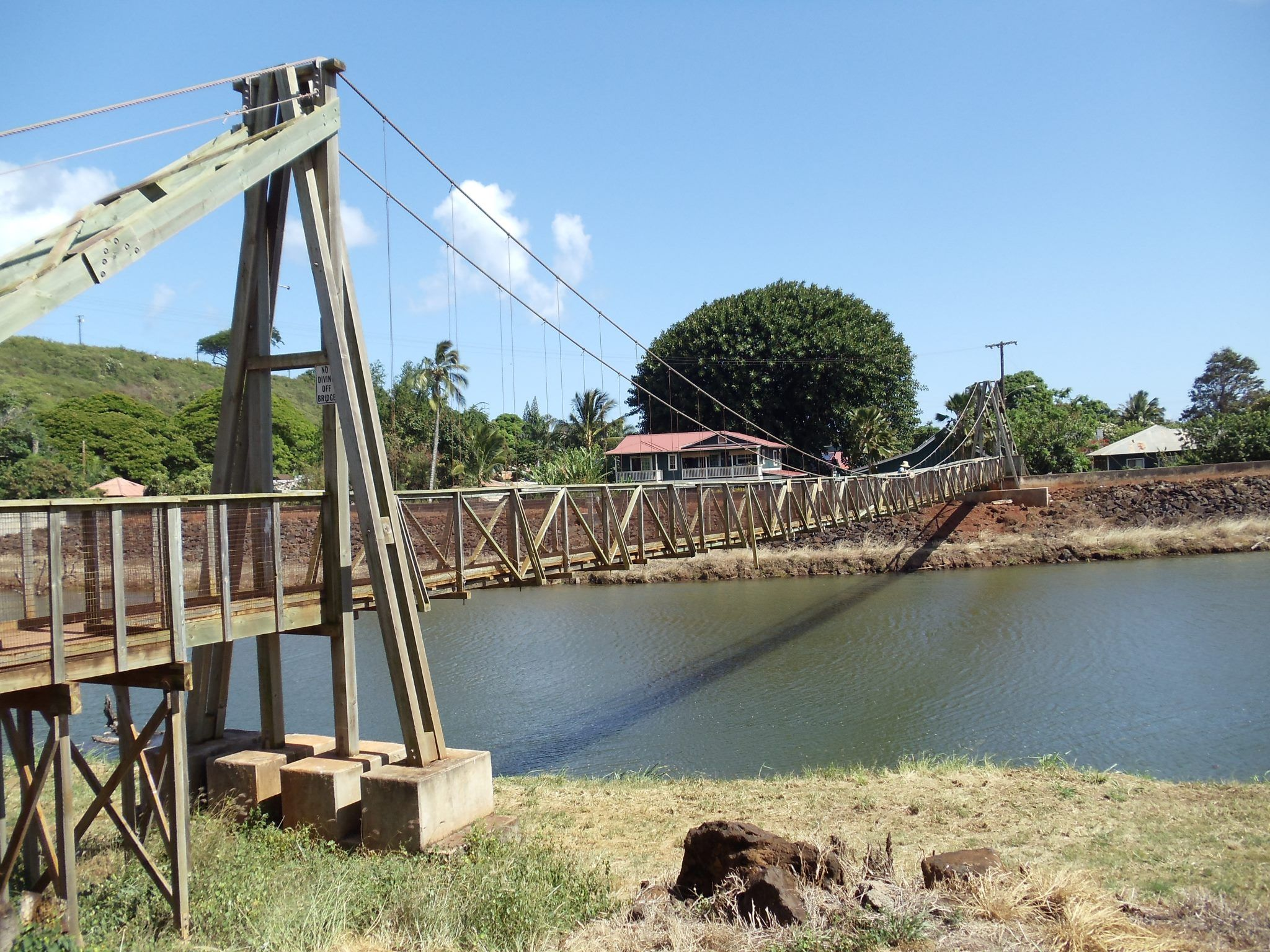 Historic Hanapepe Swinging Bridge Located In Hanapepe