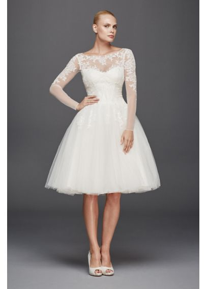 7f438ae6ccf Long sleeve lace wedding dress that is short and unique. This white wedding  dress is by Davids Bridal.