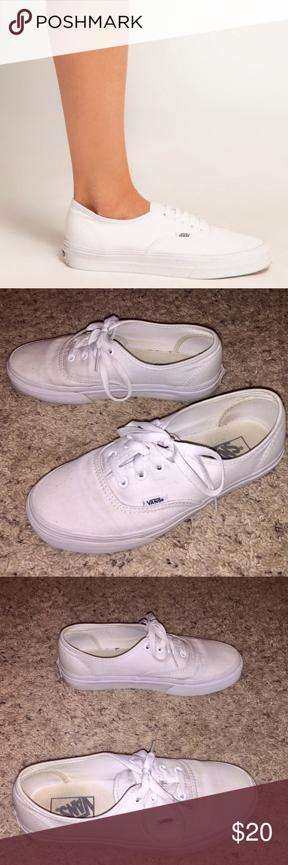 Classic White Lace Up Vans These are the best piece to have in your closet! They go with anything and everything and they are so comfortable. They have been worn, but they still have so much life left in them. Offers acceptable, NO TRADES. Vans Shoes Sneakers