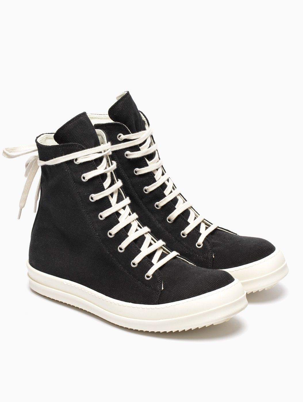 Black and Off-White Canvas Vegan Sneakers Rick Owens FwqyHS