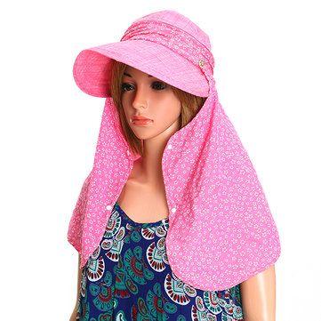456130ec88e01 Women Flower Printed Face Neck Sunscreen Wide Brim Beach Hat Outdoor  Gardening Anti-UV Visor Caps is designer