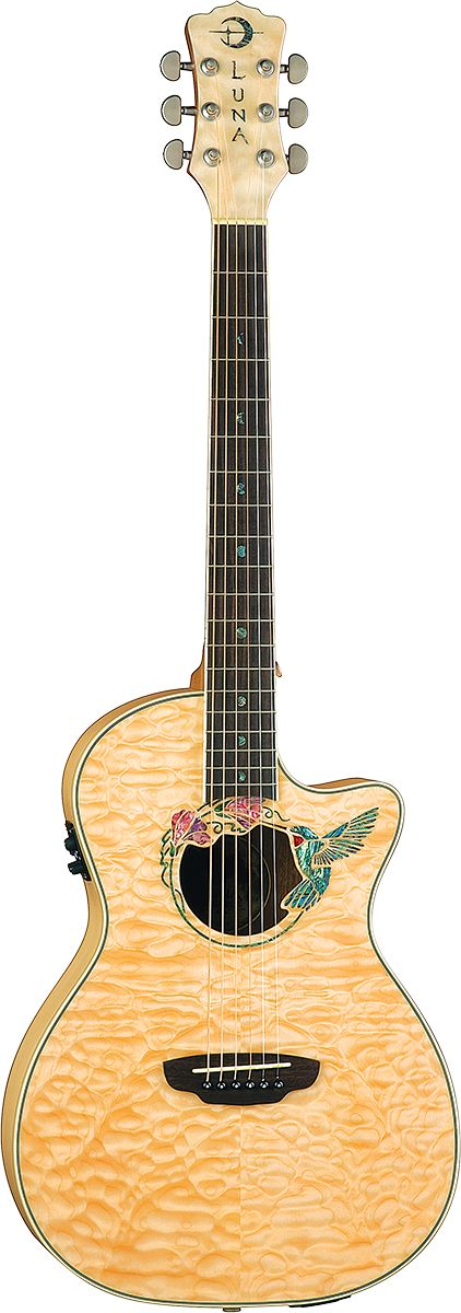 luna-guitars - Luna Fauna Series Hummingbird Parlor Acoustic Electric Guitar - FAU HUM - FAU HUM