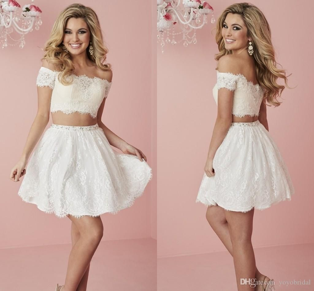 White Lace Cheap Party Dresses Two Pieces With Short Sleeves Sequin ...