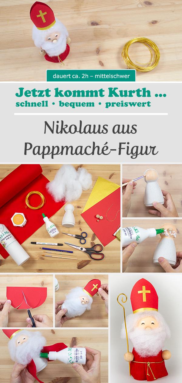 Nikolaus Aus Pappmache Figur Pappmache Figuren Nikolaus Basteln Weihnachtsbasteln