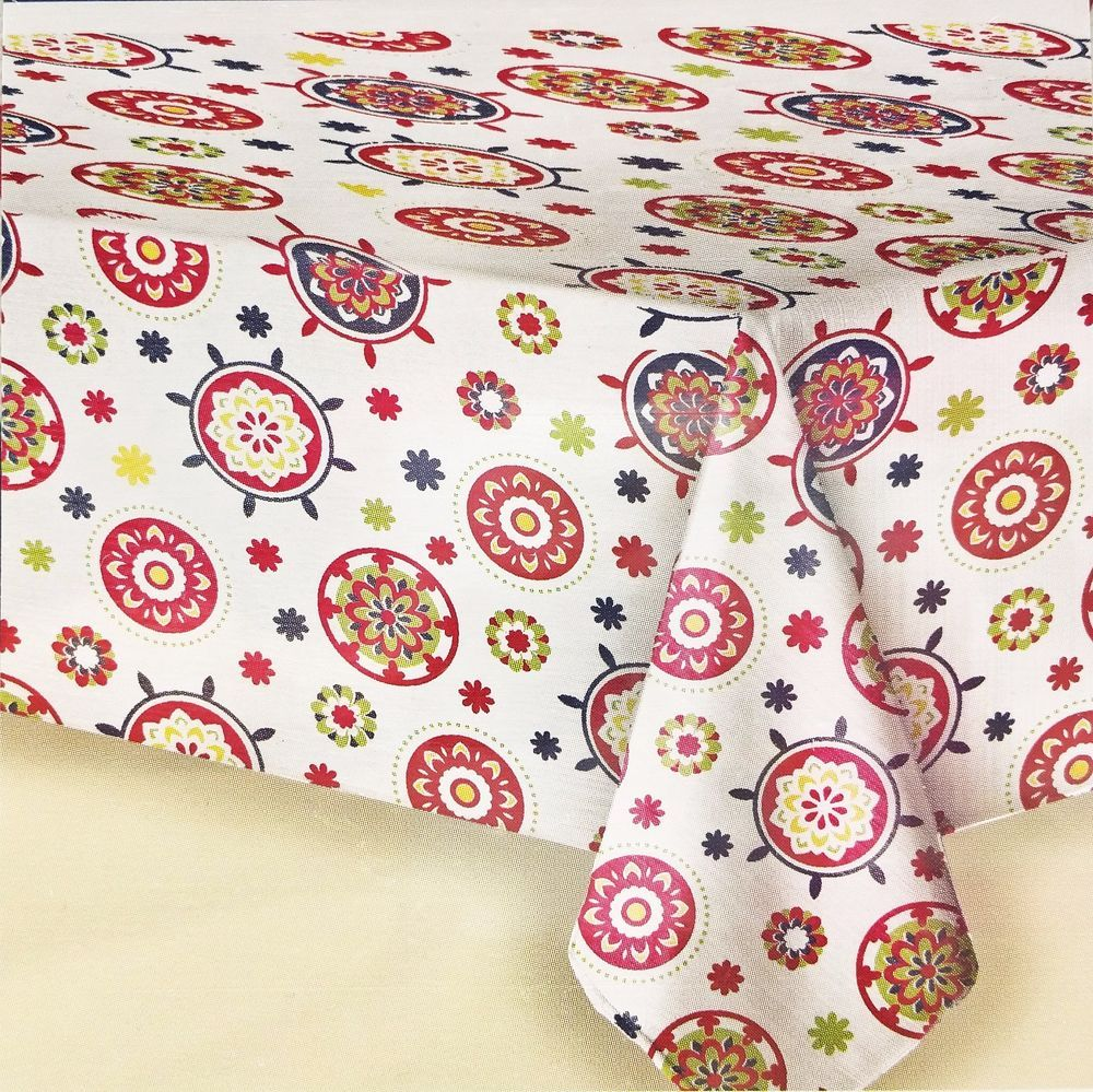 52x52 Vinyl Tablecloth Fresh Red Floral Medallions Peva Flannel Backed New