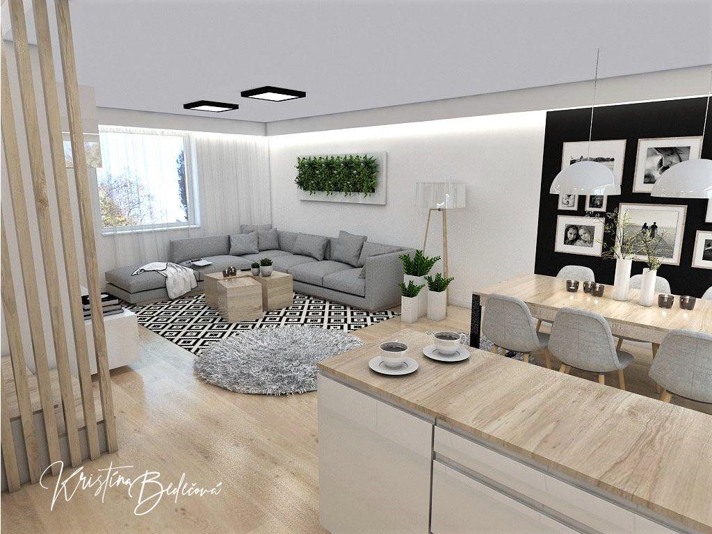 160378cc1932f Interiérový návrh kuchyne s obývačkou Po schodoch, pohľad z rohu kuchynskej  linky do obývačky