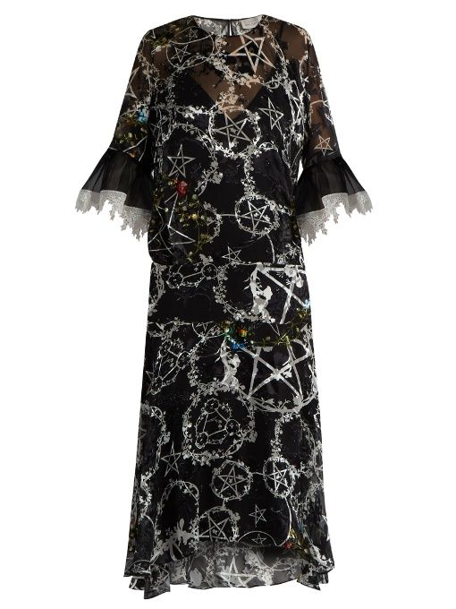 1a0c433314e PREEN BY THORNTON BREGAZZI Adora pentacle-print devoré dress.   preenbythorntonbregazzi  cloth  dress