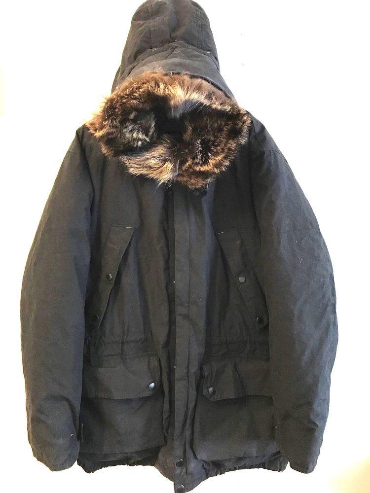 Nautica Mens Goose Down Parka Jacket Coat Raccoon Fur Hood Size