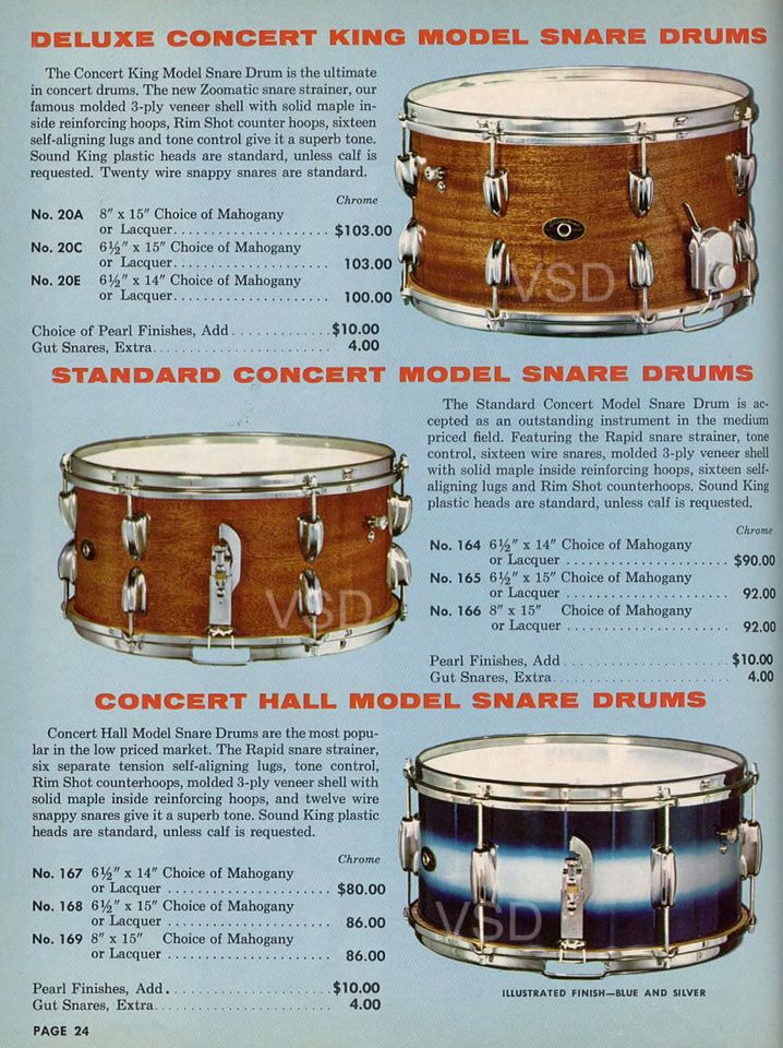 1960 slingerland catalog with my snare drum in it 1961 slingerland concert king snare drum. Black Bedroom Furniture Sets. Home Design Ideas