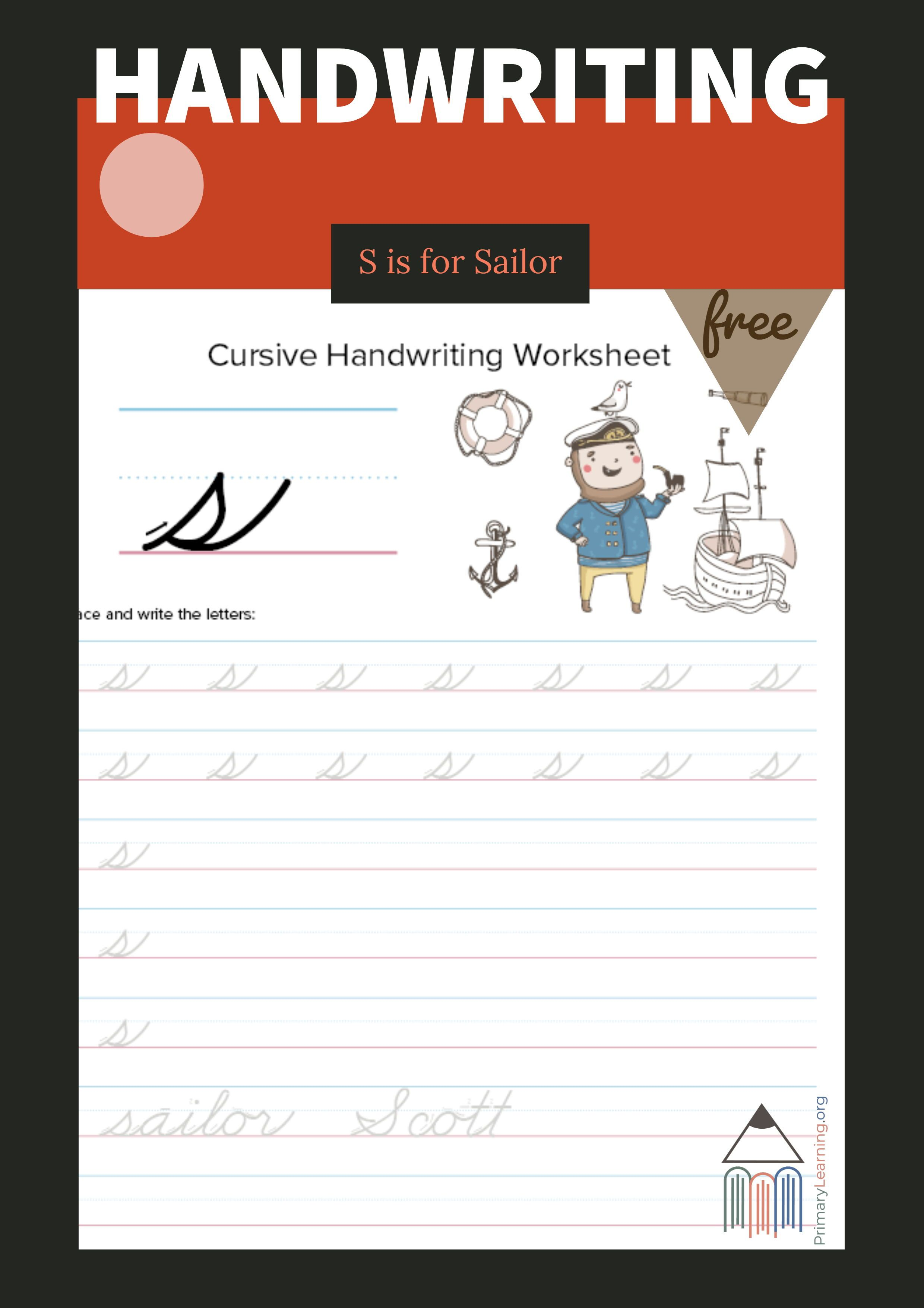 Lowercase Cursive S Worksheet With Images
