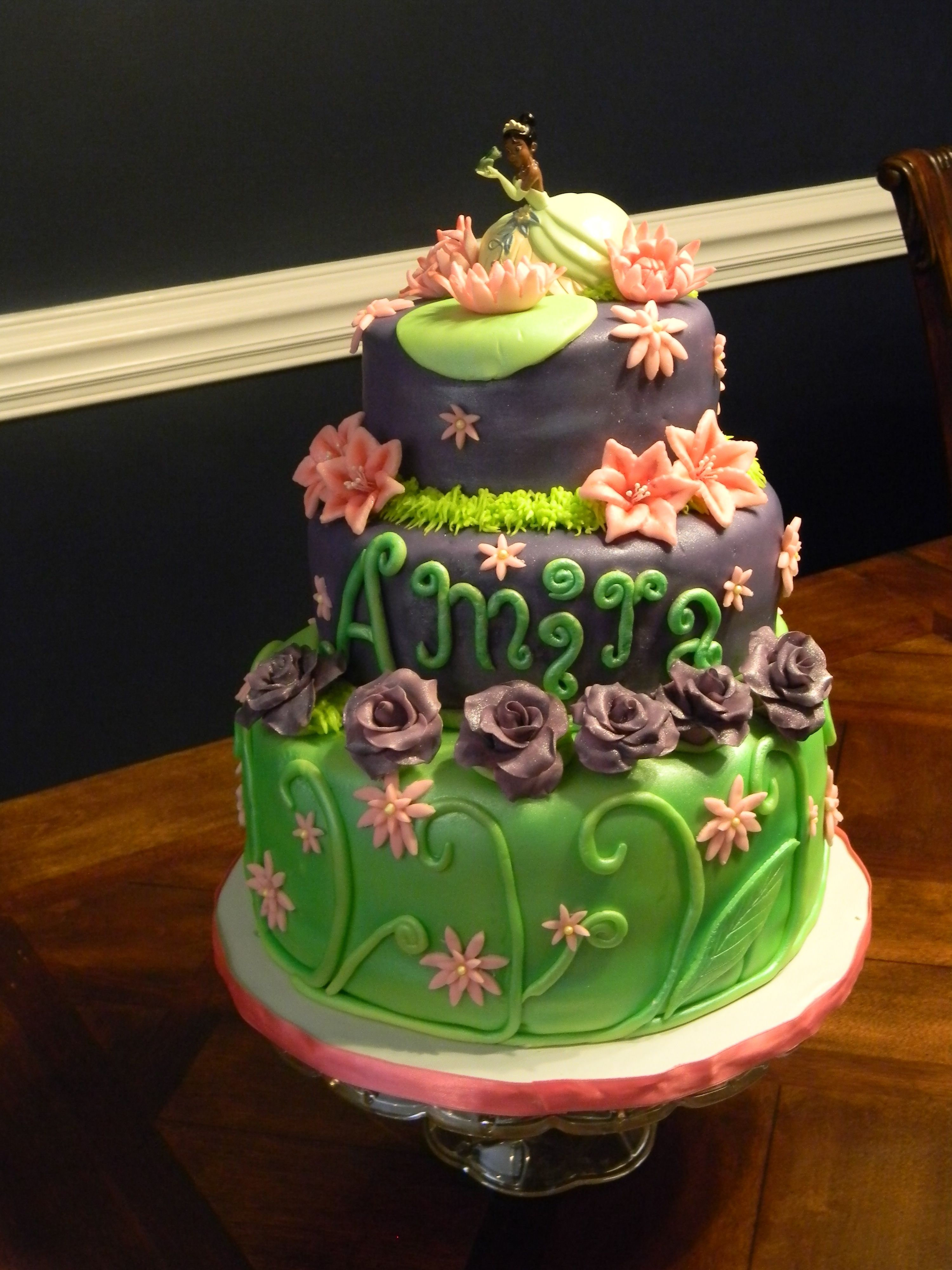 Princess Tiana Cake French Vanilla Sour Cream With Buttercream Hand Made Fondant Flowers And Decor All Is Homemade Yum