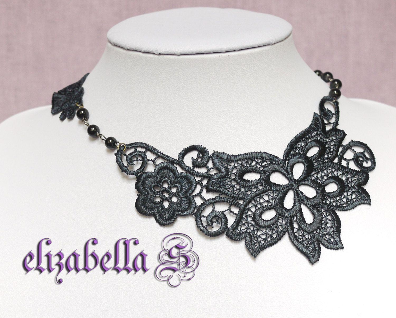 Gothic Dark Victorian black lace necklace flower choker Sale. $14.00, via Etsy.
