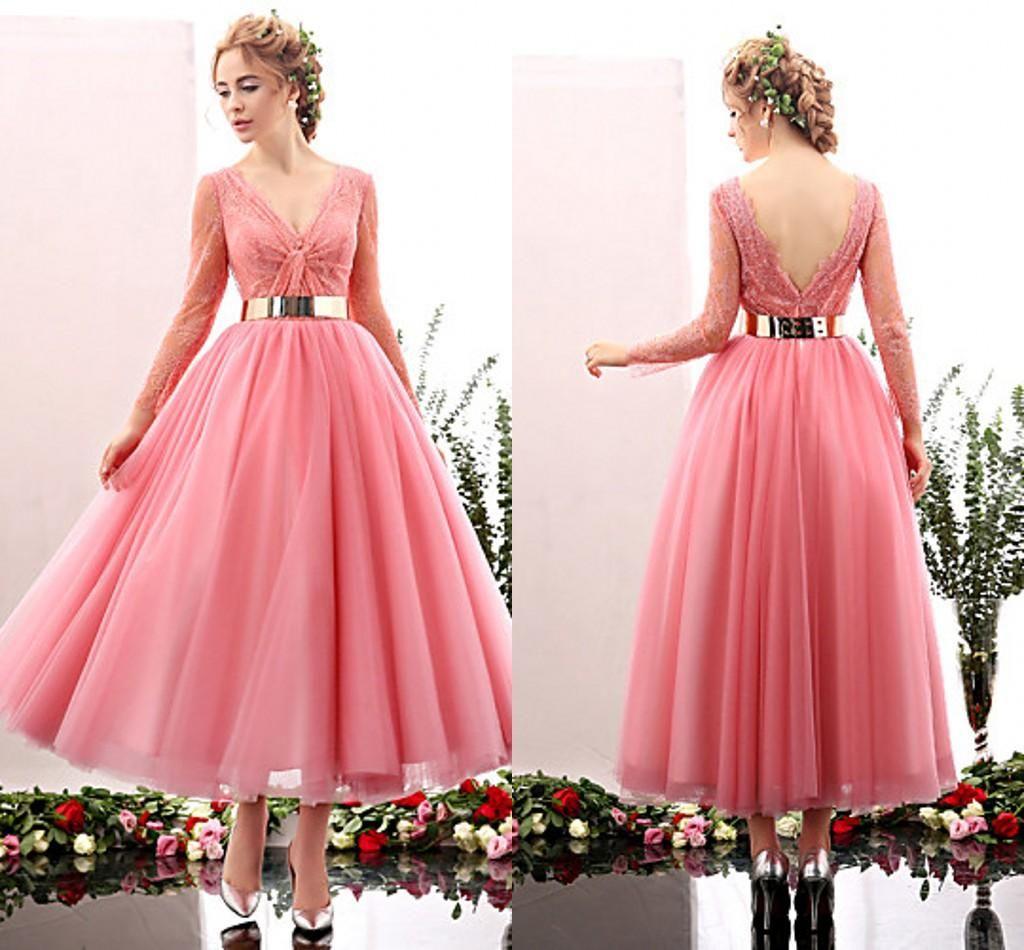 Pink / Blue Tea Length Cocktail Dress Evening Wear Long ...