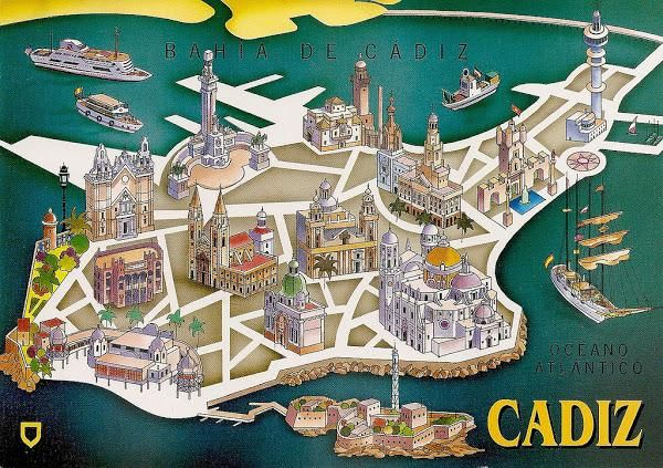 Illustrated Map Of Cadiz Spain Cadiz Spain Cadiz Illustrated Map