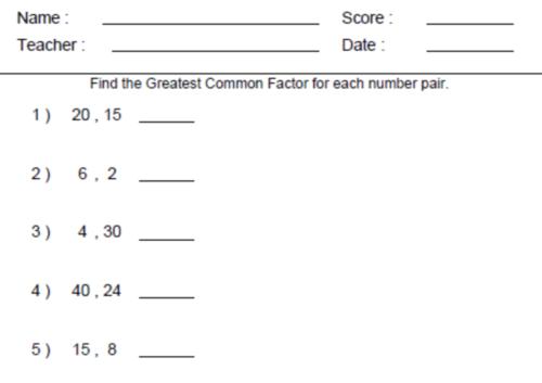 Sixth Grade Math Worksheets Greatest mon Factor