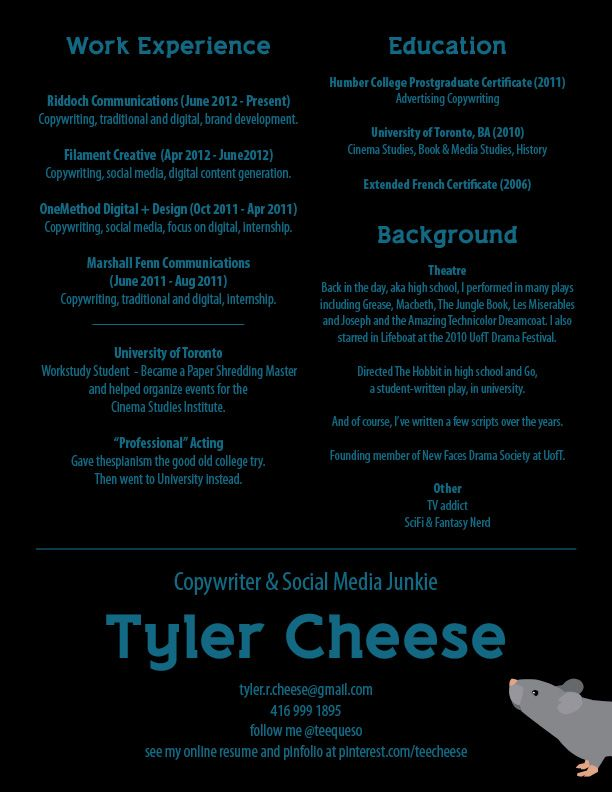 Copywriter Resume Here's The Condensed Printable Version Of My Resume#tcheese